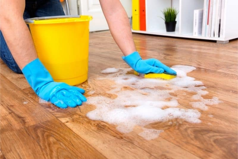 cleaning dirt on wood floor