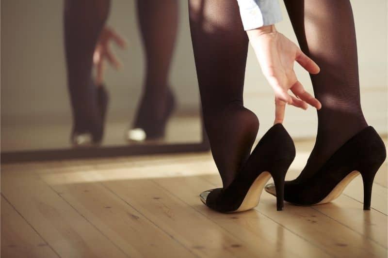 high heels on hardwood floors