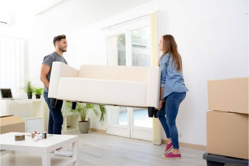 moving furniture on wooden floor