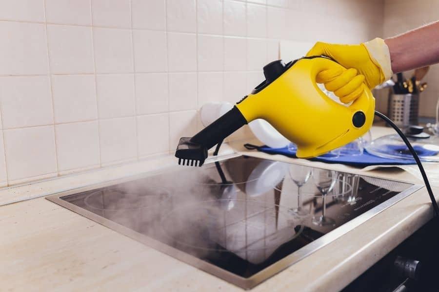 steam cleaning kitchen hob