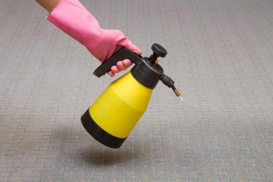 spraying fabric softener on carpet