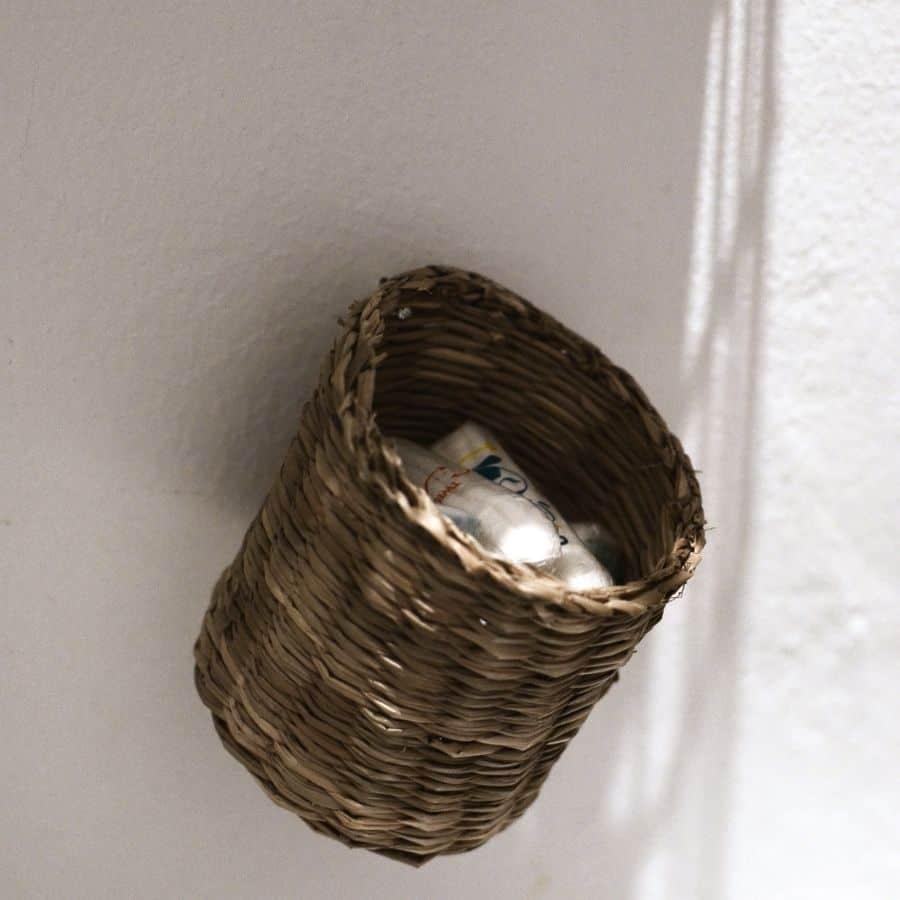 functional wicker wall basket