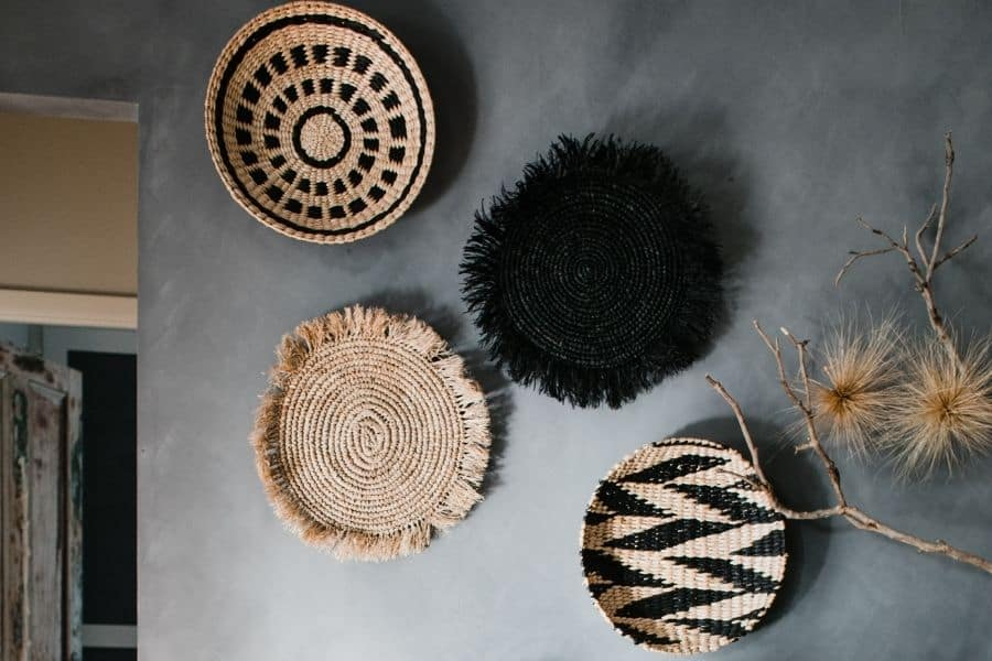 how to hang wicker baskets on the wall