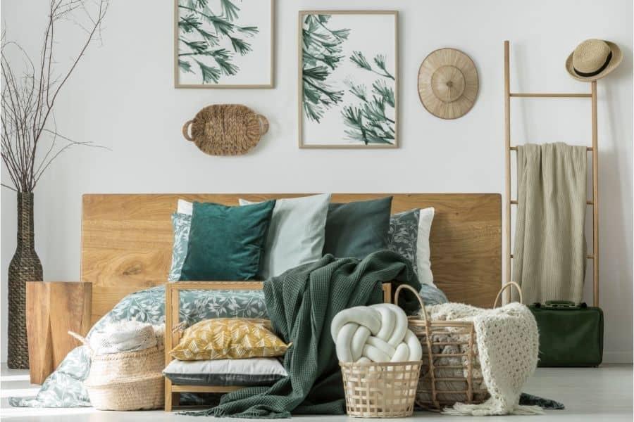 wicker basket on wall