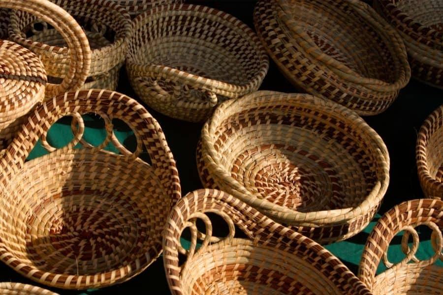 wicker baskets being sold